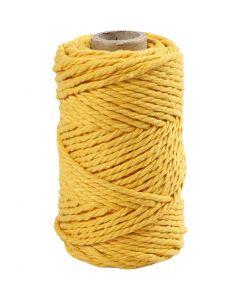 Cordon pour macramé, L: 55 m, d: 4 mm, jaune, 330 gr/ 1 rouleau