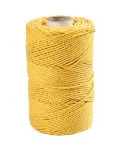 Cordon pour macramé, L: 198 m, d: 2 mm, jaune, 330 gr/ 1 rouleau
