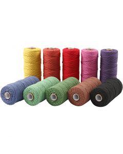 Ficelle de coton, L: 315 m, ép. 1 mm, Qualité fine 12/12, couleurs franches, 10x220 gr/ 1 Pq.