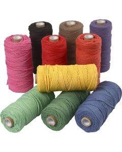 Ficelle de coton, L: 100 m, ép. 2 mm, Qualité épaisse 12/36, couleurs franches, 10x225 gr/ 1 Pq.