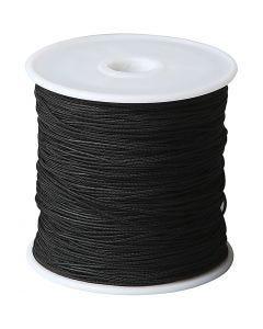 Corde pour macramé, ép. 1 mm, noir, 50 m/ 1 rouleau
