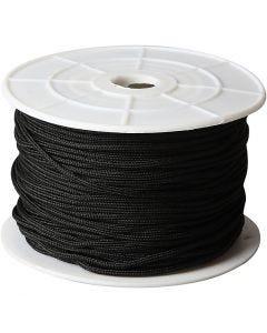 Corde pour macramé, ép. 2 mm, noir, 50 m/ 1 rouleau