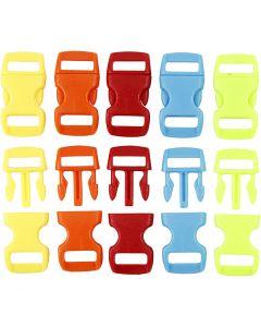 Fermeture à click, L: 29 mm, L: 15 mm, diamètre intérieur 3x11 mm, couleurs assorties, 100 pièce/ 1 Pq.