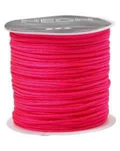 Corde pr macramé, ép. 1 mm, rose néon, 28 m/ 1 rouleau