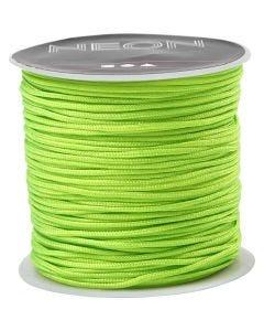 Corde pr macramé, ép. 1 mm, vert néon, 28 m/ 1 rouleau