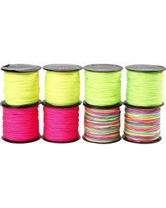 Corde pr macramé, ép. 1 mm, vert néon, rose néon, jaune néon, couleurs néons, 8x28 m/ 1 Pq.