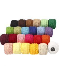 Pelote de fil de coton mercerisé, couleurs assorties, 24x20 gr/ 1 Pq.