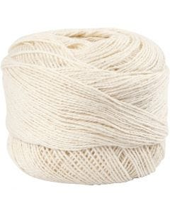 Pelote de fil de coton mercerisé, blanc cassé, 20 gr/ 1 boule