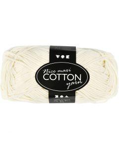 Pelote de fil de coton, L: 80-85 m, dim. maxi , crème, 50 gr/ 1 boule