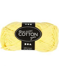 Pelote de fil de coton, L: 80-85 m, dim. maxi , jaune, 50 gr/ 1 boule