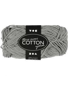 Pelote de fil de coton, L: 80-85 m, dim. maxi , gris, 50 gr/ 1 boule