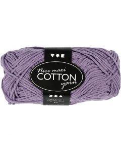 Pelote de fil de coton, L: 80-85 m, dim. maxi , violet, 50 gr/ 1 boule