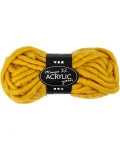 Pelote de laine acrylique épaisse, L: 17 m, dim. manga , jaune foncé, 200 gr/ 1 boule