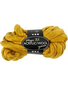 Pelote de fil acrylique/laine épais, L: 15 m, dim. mega , jaune foncé, 300 gr/ 1 boule