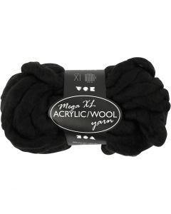 Pelote de fil acrylique/laine épais, L: 15 m, dim. mega , noir, 300 gr/ 1 boule