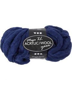 Pelote de fil acrylique/laine épais, L: 15 m, dim. mega , bleu foncé, 300 gr/ 1 boule