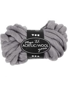 Pelote de fil acrylique/laine épais, L: 15 m, dim. mega , gris, 300 gr/ 1 boule