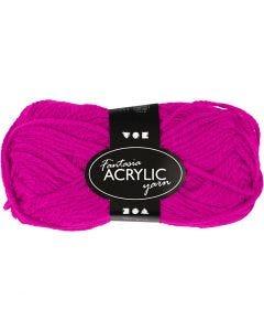 Pelote de laine acrylique Fantasia, L: 80 m, fuchsia, 50 gr/ 1 boule