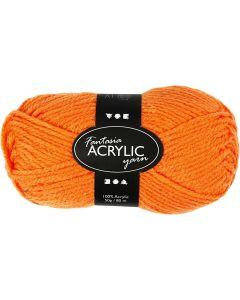 Pelote de laine acrylique Fantasia, L: 80 m, orange néon, 50 gr/ 1 boule