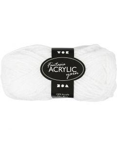 Pelote de laine acrylique Fantasia, L: 80 m, blanc, 50 gr/ 1 boule
