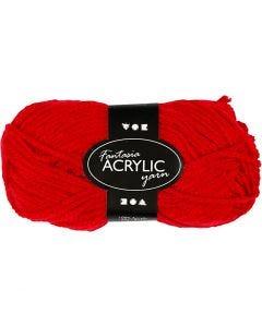 Pelote de laine acrylique Fantasia, L: 80 m, rouge, 50 gr/ 1 boule