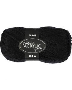 Pelote de laine acrylique Fantasia, L: 80 m, noir, 50 gr/ 1 boule