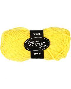Pelote de laine acrylique Fantasia, L: 80 m, jaune, 50 gr/ 1 boule