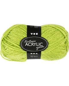 Pelote de laine acrylique Fantasia, L: 80 m, vert clair, 50 gr/ 1 boule