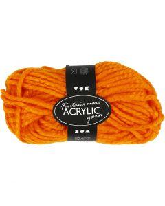 Pelote de laine acrylique Fantasia, L: 35 m, dim. maxi , orange néon, 50 gr/ 1 boule