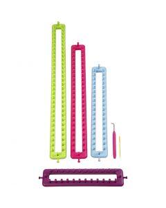 Métier à tricoter, L: 25-35-45-55 cm, 1 set
