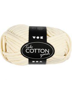 Pelote de fil de coton tubulaire, L: 45 m, blanc cassé, 100 gr/ 1 boule