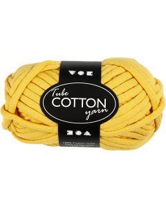 Pelote de fil de coton tubulaire, L: 45 m, jaune, 100 gr/ 1 boule