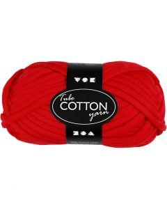 Pelote de fil de coton tubulaire, L: 45 m, rouge, 100 gr/ 1 boule