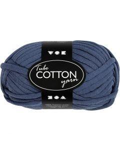 Pelote de fil de coton tubulaire, L: 45 m, bleu foncé, 100 gr/ 1 boule
