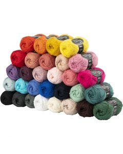Pelote de fil de coton, dim. 8/4, L: 170 m, couleurs assorties, 30x50 gr/ 1 Pq.