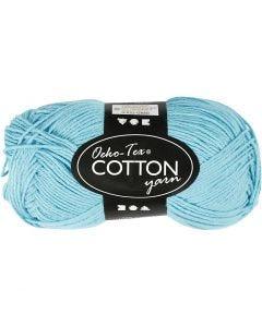 Pelote de fil de coton, dim. 8/4, L: 170 m, turquoise, 50 gr/ 1 boule