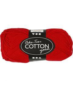 Pelote de fil de coton, dim. 8/4, L: 170 m, rouge foncé, 50 gr/ 1 boule