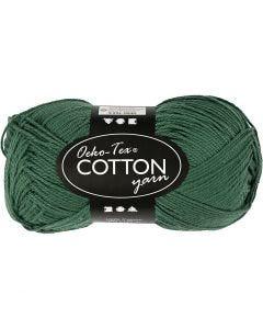 Pelote de fil de coton, dim. 8/4, L: 170 m, vert foncé, 50 gr/ 1 boule
