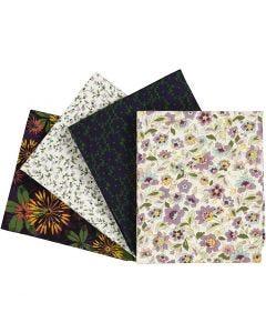 Tissu Patchwork, dim. 45x55 cm, 100 gr, violet, 4 pièce/ 1 Pq.