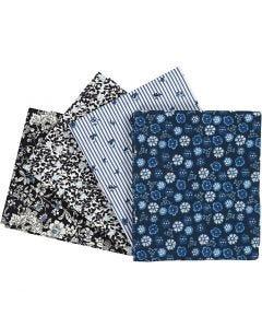 Tissu Patchwork, dim. 45x55 cm, 100 gr, bleu, 4 pièce/ 1 Pq.