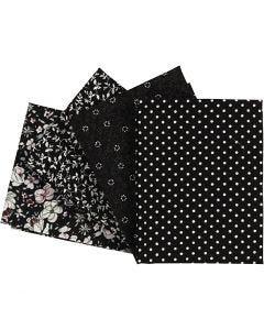 Tissu Patchwork, dim. 45x55 cm, 100 gr, noir, 4 pièce/ 1 Pq.