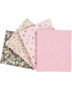 Tissu Patchwork, dim. 45x55 cm, 100 gr, rose, 4 pièce/ 1 Pq.