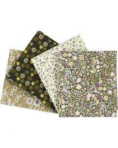 Tissu Patchwork, dim. 45x55 cm, 100 gr, vert, 4 pièce/ 1 Pq.