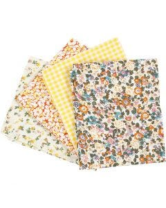 Tissu patchwork, dim. 45x55 cm, 100 gr, jaune, 4 pièce/ 1 boule