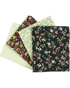 Tissu patchwork, dim. 45x55 cm, 100 gr, vert, 4 pièce/ 1 boule