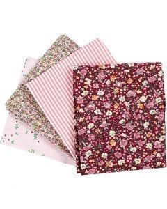 Tissu patchwork, dim. 45x55 cm, 100 gr, rose, 4 pièce/ 1 boule