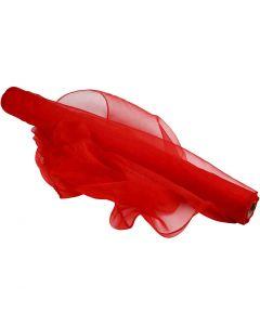 Tissu d'organza, L: 50 cm, rouge, 10 m/ 1 rouleau