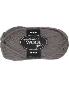 Pelote de laine Melbourne, L: 92 m, gris, 50 gr/ 1 boule