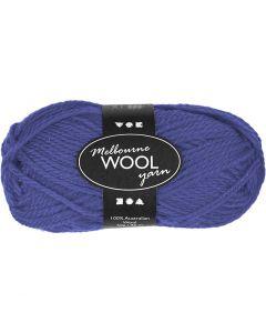 Pelote de laine Melbourne, L: 92 m, bleu, 50 gr/ 1 boule