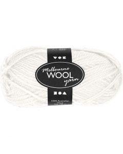 Pelote de laine Melbourne, L: 92 m, blanc cassé, 50 gr/ 1 boule